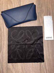 Original Loewe Glasses Sunglasses Case Cover Blue Leather