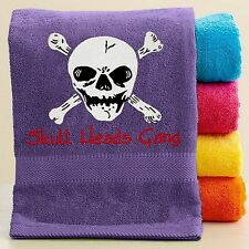 Personalized Bath/Beach Towel with Embroidery - Skull and Pirate Embroidery