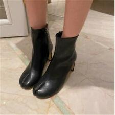 2020 Womens Split Toe Leather Mid-Calf Boots Block High Heel Black Zipper Shoes