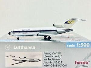 """Herpa Wings Lufthansa Boeing 727-30 """"Braunschweig"""" 1:500 D-ABID 512855"""