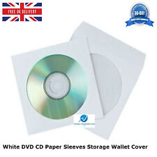 500 pcs White DVD CD Paper Sleeves Storage Wallet Cover Case With Window & Flap