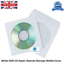 500 PZ Bianco CD DVD Carta Maniche Storage Portafoglio Cover Custodia Con Finestra e Aletta