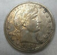 1915-D Barber Quarter AU+ or Uncirculated MS Details Cleaned Retoned Better Date