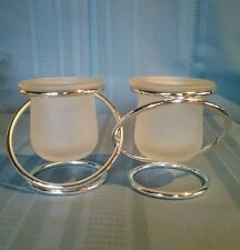 PartyLite Silver Plated Gemini Interlocking Frosted Glass Votive Candle Holders