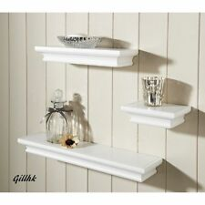 Royce Set of 3 Modern Wood Effect Floating Shelves Shelf Storage- Damaged White