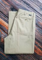 Nautica Clipper Mens Brown pants khaki 36 X 29 flat front Relaxed Fit
