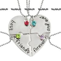 XMAS GIFTS FOR HER Silver Heart Sisters Necklace Best Friends Forever Girls E9
