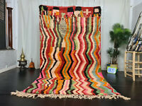 """Moroccan Handmade Boujad Berber Rug 5'4""""x9'3"""" Colorful ZigZag Wool Berber Carpet"""