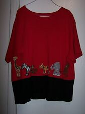 Bechamel Red Zoo Themed Embroded Blouse 100% Cotton Size 1X