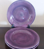 Tabletops Unlimited Espana Plum Handpainted Dinner Plates x3 Dark Purple