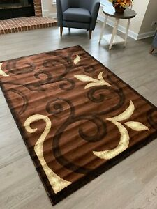 Area Rugs Carpet Flooring Modern Brown Living Room Large Size 5'x8'