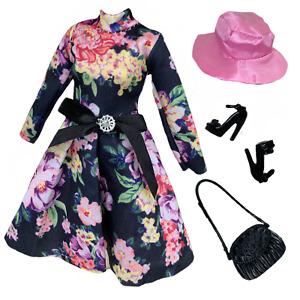 "Eledoll Clothes Fashion Pack Black Dress Vintage Floral & Hat For 11.5"" Doll"