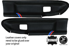 BLACK STITCH M STRIPES 2X FRONT DOOR CARD COVERS FOR BMW E36 COUPE & CONVERTIBLE