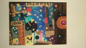 Russian Soviet mixed media paint and paper collage