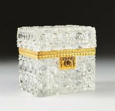 Rare 19Thc Baccarat Manner Heavy Hand Cut Clear Crystal Glass Bronze Mount Box!