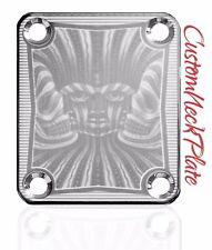 Chrome Engraved Psychadelic Guitar Neck Plate  fits Fender tele/strat/squier