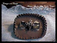 Antique TIN Pierced flatback Vtg German PA DUTCH DOUBLE TULIP Cookie Cutter AAFA
