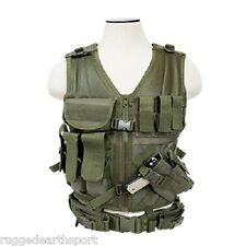 Deluxe Hunting Tactical Vest w Gun Holster + Ammo Pouches + Belt OD GREEN