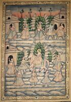 5 X 3.5 Pichwai  Maharajah Procession Painting on Well Dressed Elephant