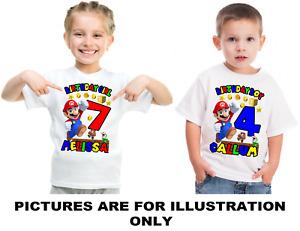 Personalised Birthday T Shirt Super Mario Childrens kids Age 1 to 8 Freepost UK
