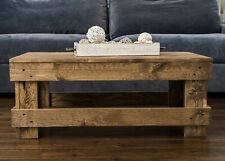 Rustic Primitive Coffee Table Center Solid Wood Plank Modern Living Room  Sturdy