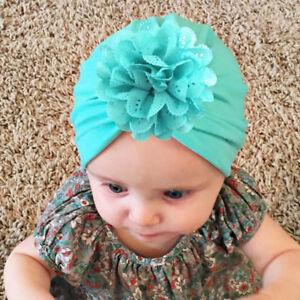Baby Hats Flower Caps Elastic Turban Headband Infant Indian Hairband Cap