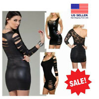 Sexy Wet Look Mini Black Dress Lace Up Cut Out Stretchy Club Long Tunic Shirt US