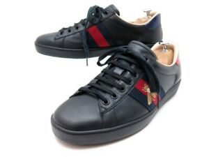 CHAUSSURES GUCCI BASKETS ACE BRODEES 429446 6.5 IT 41.5 FR CUIR SNEAKERS 540€