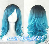 Lolita Wig Women Long Curly Wavy Blue Mix Hair Wigs Cosplay party Wigs +Wig cap