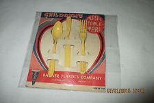 "Vintage Banner Plastics Co. Children""s Plastic Table-Ware Set -Original Card NOS"