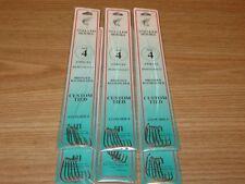6 PKS - SIZE 4 SNELLED BRONZE BAITHOLDER HOOKS - 36 FISH HOOKS - DOLPHIN BRAND