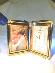 Seiko QHG021GLH Picture Frame Vintage Brass Desk Clock Picture Frame