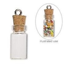 10 TINY GLASS BOTTLEs 22x11mm with CORK EYE HOOK screw clear A earrings pendants