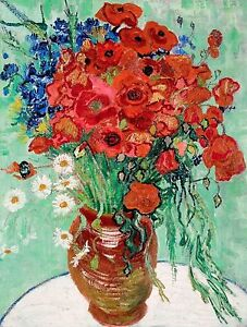 Van Gogh 1889, Vase with Daisies & Poppies, Fade Resistant HD Art Print / Canvas