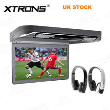 """13.3"""" Car Roof Monitor Flip Down DVD Player Overhead HDMI USB with 2 Headphone"""