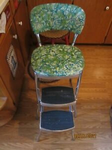 Vintage STYLAIRE Mid Century Aqua Green Floral Kitchen Chair Step Stool!!