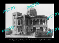 OLD POSTCARD SIZE PHOTO CAIRO EGYPT, THE WWI HOSPITAL BUILDING c1915
