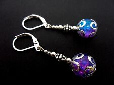 A PAIR OF DANGLY PINK/BLUE CRACKLE GLASS BEAD LEVERBACK HOOK EARRINGS. NEW.
