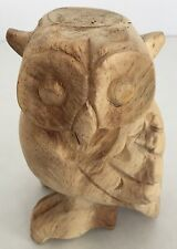 Hand Carved Wood Owl Hoot Whistle Unpainted Natural Finish Musical Toy Figure