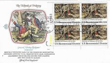 U.S. 1977 Herkimer at Oriskany #1722 Plate# Block of 4 on a Fleetwood Fdc Cachet