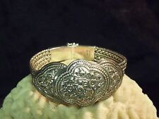 Retro Style Sterling Silver Thai Floral Bracelet Mesh 925 Byzantine Chain Cuff