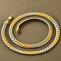 19.7 inches Rare 9K Yellow Gold Filled 2-Tone mens Unisex chain necklace F6262