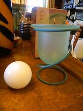 New 3 Pc. Ball Candle Holder Jade Green Metal Glass Frosted Green Patio Deck