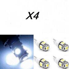 x4 Bombillas LED, T10 5050 SMD 5W5, DC12V, posicion, matricula, blanco frio.