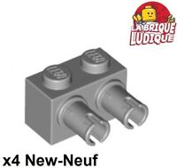 Lego - 4x Brique Brick Modified 1x2 with 2 Pins gris/light bl gray 30526 NEUF