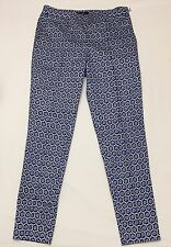 H & M Women's Pixie Ankle Pants Blue White Black Geometric Side Zip Capri Sz 4
