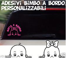 Adesivo BIMBO BIMBA BEBE'a bordo personalizzato con nome da esterno°° cod.140