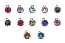 12PCS Assorted of Silver Tone Rhinestone Birthstone Charms Drops
