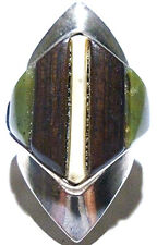 EDWARD ZUNI ANTIQUE OLD NATIVE AMERICAN JADE WOOD STERLING SILVER SHIELD RING