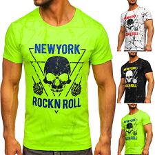 T-Shirt Kurzarm Rundhals Tee Men Slim Fit Sport Print Motiv Herren BOLF Aufdruck